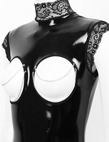 YiZYiF Damen Wetlook Bodysuit Brust Offen Body Catsuit Top Shirt Spitze Stringbody Erotik Lack Leder Dessous Trikot Babydoll Lingerie Crotchless Schwarz S - 6