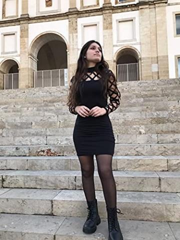 YOINS Damen Elegant Kleider Party Sexy Abendkleider Langarm Mode Knielang Kleider A-schwarz S - 3