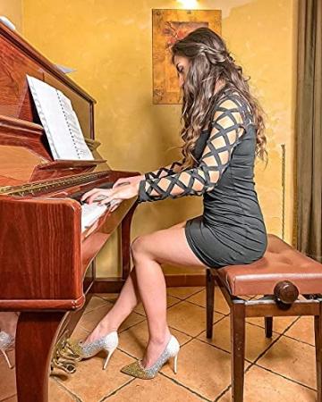 YOINS Damen Elegant Kleider Party Sexy Abendkleider Langarm Mode Knielang Kleider A-schwarz S - 4