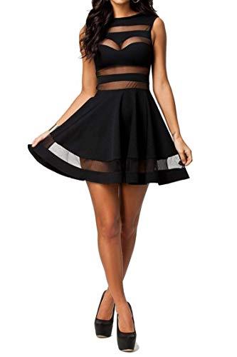 Zeagoo Damen Sexy Hohe Taille Partykleid Cocktailkleid Sommerkleid Bodycon MiniKleid mit Mesh Clubwear A-Linie Kleid L Schwarz - 2