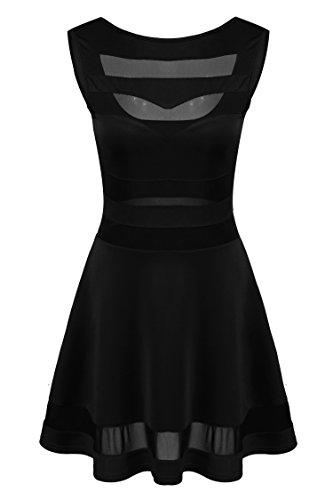 Zeagoo Damen Sexy Hohe Taille Partykleid Cocktailkleid Sommerkleid Bodycon MiniKleid mit Mesh Clubwear A-Linie Kleid L Schwarz - 5