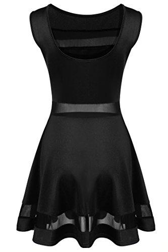 Zeagoo Damen Sexy Hohe Taille Partykleid Cocktailkleid Sommerkleid Bodycon MiniKleid mit Mesh Clubwear A-Linie Kleid L Schwarz - 6