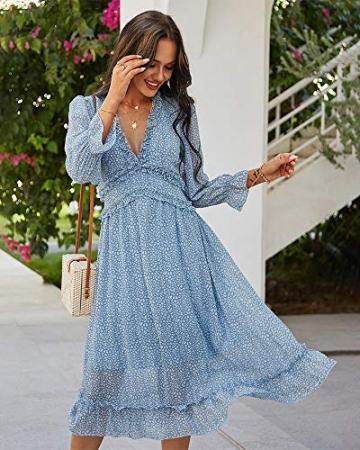 ZIYYOOHY Damen Lange Kleid Chiffon Rüschen mit Tief V-Ausschnitt Blumendruck Sommerkleid Cocktailkleid Partykleid Maxikleid Strandkleid Blusenkleid (M, 3016 Blau) - 2
