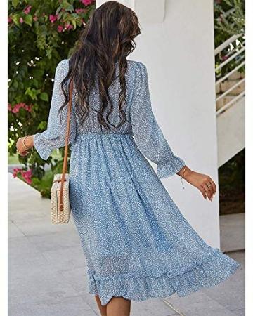 ZIYYOOHY Damen Lange Kleid Chiffon Rüschen mit Tief V-Ausschnitt Blumendruck Sommerkleid Cocktailkleid Partykleid Maxikleid Strandkleid Blusenkleid (M, 3016 Blau) - 3