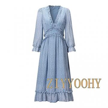 ZIYYOOHY Damen Lange Kleid Chiffon Rüschen mit Tief V-Ausschnitt Blumendruck Sommerkleid Cocktailkleid Partykleid Maxikleid Strandkleid Blusenkleid (M, 3016 Blau) - 4