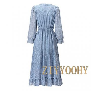 ZIYYOOHY Damen Lange Kleid Chiffon Rüschen mit Tief V-Ausschnitt Blumendruck Sommerkleid Cocktailkleid Partykleid Maxikleid Strandkleid Blusenkleid (M, 3016 Blau) - 5