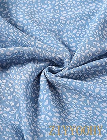 ZIYYOOHY Damen Lange Kleid Chiffon Rüschen mit Tief V-Ausschnitt Blumendruck Sommerkleid Cocktailkleid Partykleid Maxikleid Strandkleid Blusenkleid (M, 3016 Blau) - 6