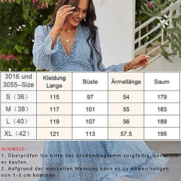 ZIYYOOHY Damen Lange Kleid Chiffon Rüschen mit Tief V-Ausschnitt Blumendruck Sommerkleid Cocktailkleid Partykleid Maxikleid Strandkleid Blusenkleid (M, 3016 Blau) - 7