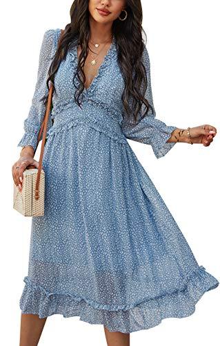 ZIYYOOHY Damen Lange Kleid Chiffon Rüschen mit Tief V-Ausschnitt Blumendruck Sommerkleid Cocktailkleid Partykleid Maxikleid Strandkleid Blusenkleid (M, 3016 Blau) - 1