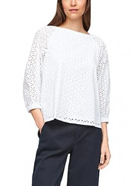 s.Oliver Damen Bluse aus Baumwollspitze White 38 - 1
