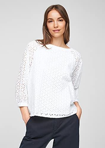 s.Oliver Damen Bluse aus Baumwollspitze White 38 - 5