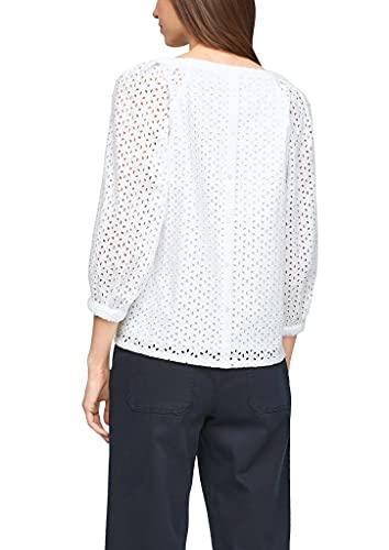 s.Oliver Damen Bluse aus Baumwollspitze White 38 - 7