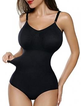 SHAPERIN Damen Bauch Weg Body Shaper Figurformend Bodysuit mit Haken verstellbaren Spaghettiträger Top Push Up Miederbody Nahtlose Unterwäsche Dessous (Schwarz,M) - 1