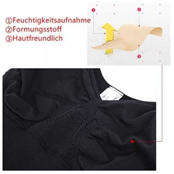 SHAPERIN Damen Bauch Weg Body Shaper Figurformend Bodysuit mit Haken verstellbaren Spaghettiträger Top Push Up Miederbody Nahtlose Unterwäsche Dessous (Schwarz,M) - 4