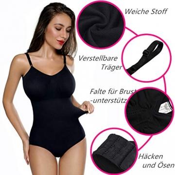 SHAPERIN Damen Bauch Weg Body Shaper Figurformend Bodysuit mit Haken verstellbaren Spaghettiträger Top Push Up Miederbody Nahtlose Unterwäsche Dessous (Schwarz,M) - 5