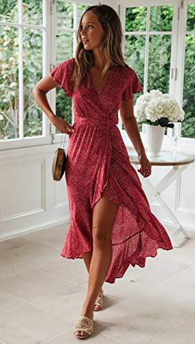 Spec4Y Damen Boho Lange Kleider V-Ausschnitt Sommerkleider Kurzarm Wickelkleid Maxikleid Strandkleid mit Schlitz Weinrot M - 3