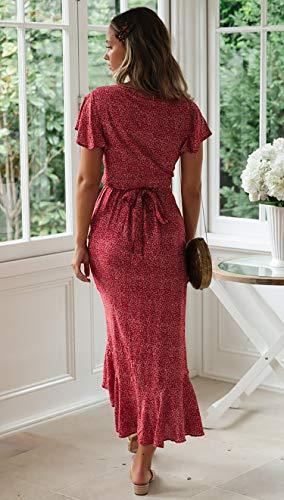 Spec4Y Damen Boho Lange Kleider V-Ausschnitt Sommerkleider Kurzarm Wickelkleid Maxikleid Strandkleid mit Schlitz Weinrot M - 7