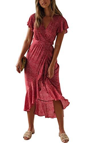 Spec4Y Damen Boho Lange Kleider V-Ausschnitt Sommerkleider Kurzarm Wickelkleid Maxikleid Strandkleid mit Schlitz Weinrot M - 1