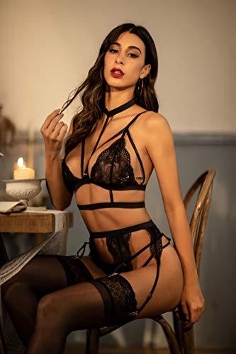 ADOME Erotische Dessous-Set Damen Reizwäsche 4-TGL Erotik Strapse Set Unterwäsche Sexy Spitze BH und Slip Strumpfband für Damen - 6