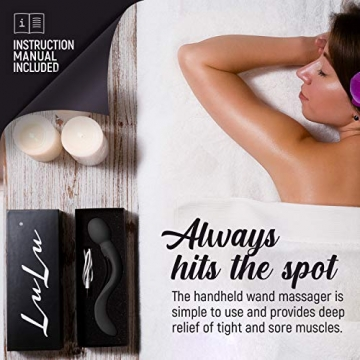 LuLu 8+ Wand - Personal Massager with 7 Magic Modes - Cordless Therapeutic for Neck Back Body Massage - Helps with Sports Recovery & Muscle Aches - Black - 4