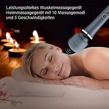 MANFLY Handheld Massagegerät Vibration, Kabellos Silikon Massager Wand mit 5 * 10 Vibrationsmodi, Massagestab für Nacken, Schultermuskeln und Nacken, USB wiederaufladbar (grau) - 5