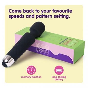 Oliver James Massage Wand Massagestab kabelloser elektrisch Memory Edition - 20 Verschiedene Vibrationsarten 8 Geschwindigkeiten - inkl. Reisetasche (Schwarz) - 4