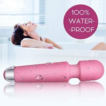 UV STYLISH Massage Wand Massagestab kabelloser elektrisch - 20 Verschiedene Vibrationsarten 8 Geschwindigkeiten für Muskelschmerzen und Erholung nach Ihrem Sportprogramm Erholung (Rosa) - 5