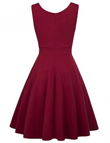50s Kleider Rockabilly Vintage Retro Kleid cocktailkleider Burgundy a Linie Kleider CL698-2 L - 2