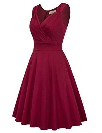 50s Kleider Rockabilly Vintage Retro Kleid cocktailkleider Burgundy a Linie Kleider CL698-2 L - 4