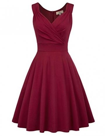 50s Kleider Rockabilly Vintage Retro Kleid cocktailkleider Burgundy a Linie Kleider CL698-2 L - 1