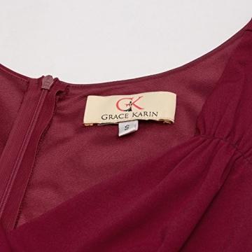 50s Kleider Rockabilly Vintage Retro Kleid cocktailkleider Burgundy a Linie Kleider CL698-2 L - 5