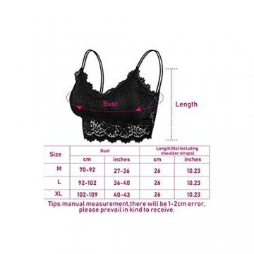 ablever Damen BHS 5er Pack Ohne Buegel Push up Yoga Spitze BH Bra Top Set Sport-BHS für Women (L) - 2