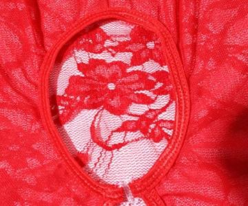 Acramy Damen Reizwäsche Body Offener Schritt Große Größen Dessous Ouvert (XXL, Rot) - 4
