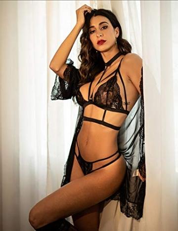 ADOME Erotische Dessous-Set Damen Reizwäsche 4-TGL Erotik Strapse Set Unterwäsche Sexy Spitze BH und Slip Strumpfband für Damen - 3