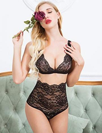 ADOME Sexy Dessous Set BH Dessous Sexy Erotische Lingerie Höhe Taille Reizwäsche Nachtwäsche Unterwäscshe Lace Spitze Erotik Unterwäsche und Slip Reizwäsche Set (XX-Large, Schwarz) - 2