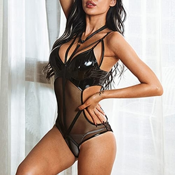 BaZhaHei Damen Lederkleid Rückenfreier Body Dessous Latex Sexi Catsuit Bademantel Nachthemd Sleepwear Pyjama Lingerie Negligee V-Ausschnitt Reizwäsche - 3