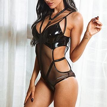 BaZhaHei Damen Lederkleid Rückenfreier Body Dessous Latex Sexi Catsuit Bademantel Nachthemd Sleepwear Pyjama Lingerie Negligee V-Ausschnitt Reizwäsche - 4