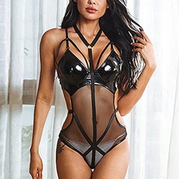 BaZhaHei Damen Lederkleid Rückenfreier Body Dessous Latex Sexi Catsuit Bademantel Nachthemd Sleepwear Pyjama Lingerie Negligee V-Ausschnitt Reizwäsche - 6