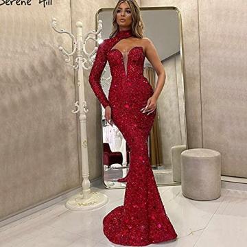 BBOOY Frauen One Shoulder Langes Abendkleid, Mode Asymmetrische Farbverlauf Pailletten Meerjungfrau Lange Brautjungfer Abendkleid,Rot,S - 2