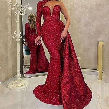 BBOOY Frauen One Shoulder Langes Abendkleid, Mode Asymmetrische Farbverlauf Pailletten Meerjungfrau Lange Brautjungfer Abendkleid,Rot,S - 3
