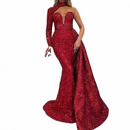 BBOOY Frauen One Shoulder Langes Abendkleid, Mode Asymmetrische Farbverlauf Pailletten Meerjungfrau Lange Brautjungfer Abendkleid,Rot,S - 1