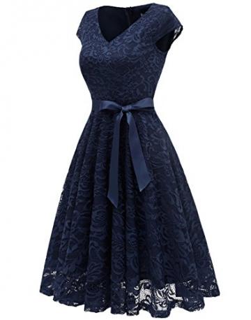 BeryLove Damen V-Ausschnitt Kurz Brautjungfer Kleid Cocktail Party Floral Kleid BLP7006NavyL - 3