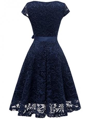 BeryLove Damen V-Ausschnitt Kurz Brautjungfer Kleid Cocktail Party Floral Kleid BLP7006NavyL - 4