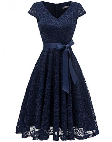 BeryLove Damen V-Ausschnitt Kurz Brautjungfer Kleid Cocktail Party Floral Kleid BLP7006NavyL - 1