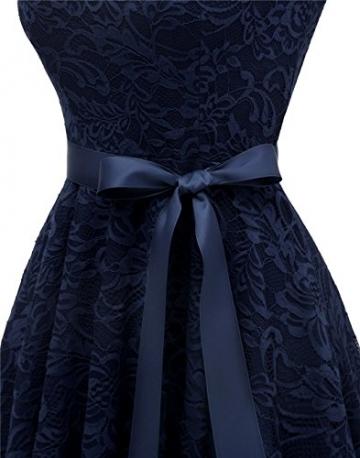 BeryLove Damen V-Ausschnitt Kurz Brautjungfer Kleid Cocktail Party Floral Kleid BLP7006NavyL - 6