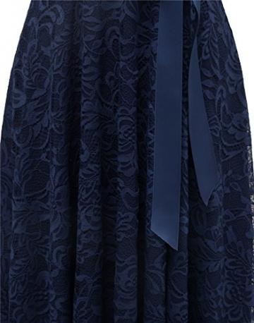 BeryLove Damen V-Ausschnitt Kurz Brautjungfer Kleid Cocktail Party Floral Kleid BLP7006NavyL - 7