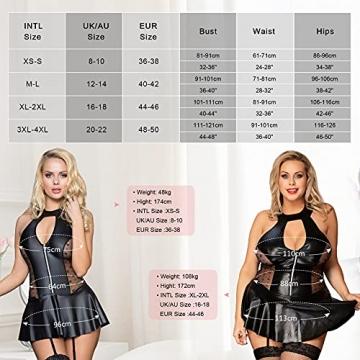 comeondear Dessous Große Größen Damen Kunstleder Negligee Wetlook Neckholder Rückenfreie Kurz Minikleid Partykleider Clubwear Nachtwäsche Schwarz(EU 36-38,Schwarz 5,XS-S) - 6
