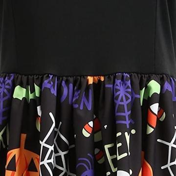 Dasongff Halloween Kostüm Damen Vintage Elegant Kleider Langarm Retro Lange Ärmel Kürbis Printed Skater Kleider A-Linie Hepburn Cocktailkleid Spitze Druck Abend Party Dress Partykleid Swing Kleid - 6