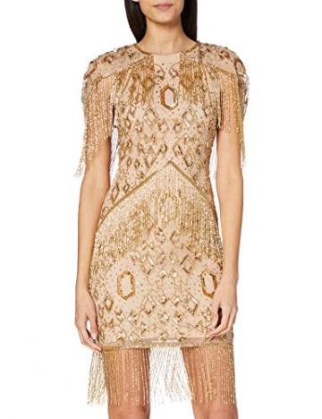 Frock and Frill Damen High Neck Embellished Mini Dress Cocktailkleid, Gold, 40 - 1