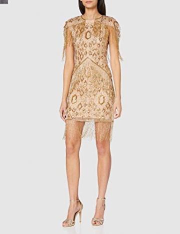 Frock and Frill Damen High Neck Embellished Mini Dress Cocktailkleid, Gold, 40 - 2